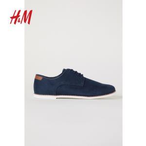 HM男鞋2019秋冬休闲时尚英伦商务系带德比鞋0656121100元