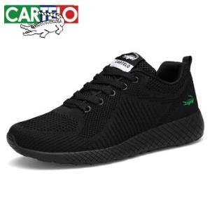 CARTELO卡帝乐鳄鱼2019春季男士时尚运动鞋织布车缝线健步鞋QH1302黑色、4089元