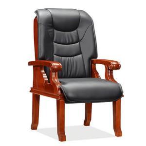 鸿业盛大FS-D304牛皮高密度海绵实木架办公椅会议椅 1918元
