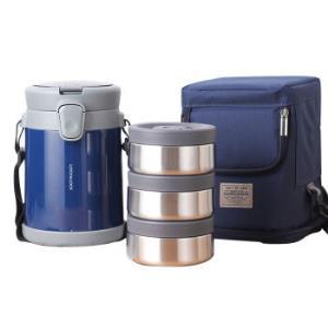 乐扣乐扣LOCK&LOCK不锈钢保温饭盒分隔保温桶便当盒便携式提锅1.68L蓝色LHC8038BLU*2件438元(合219元/件)