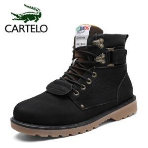 卡帝乐鳄鱼(CARTELO)男鞋休闲中高帮系带韩版舒适时尚潮流马丁工装男靴906黑色4084元