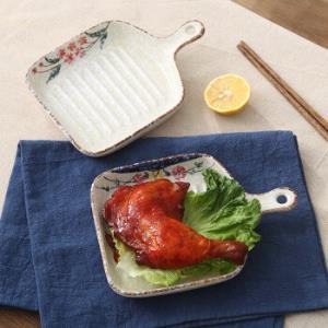 日式陶瓷手绘带柄烤盘牛排盘 19.9元