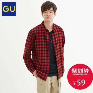 28日0点:GU极优男装法兰绒格子衬衫磨毛柔软舒适长袖上衣男纯棉多色317397 59元