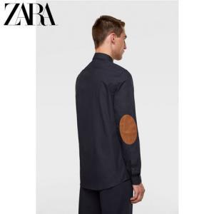 ZARA新款男装肘部装饰牛津衬衣衬衫06608340401 99元