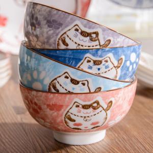 雅诚德碗家用陶瓷饭碗日式餐具组合套装吃饭卡通招财猫碗盘碟子