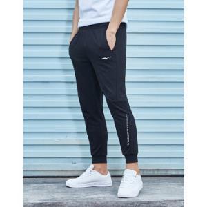 鸿星尔克男装九分裤新品运动休闲舒适运动裤男针织长裤正黑7001L99元