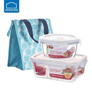 乐扣乐扣耐热玻璃保鲜盒分隔饭盒包三件套85.9元