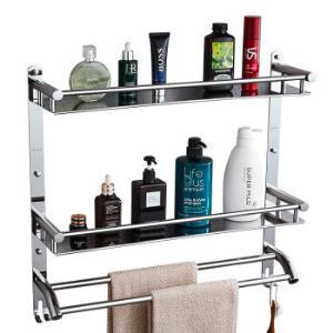 卡贝(Cobbe)浴室置物架304不锈钢毛巾架卫生间双层双杆置物架壁挂浴巾架厕所五金挂件*2件