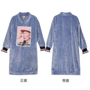 芬腾珊瑚绒睡裙女长袖秋季新款卡通可外穿连帽长款过膝家居服睡衣兰色女款L(165/88A) 99元