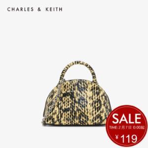 CHARLES&KEITH女包CK6-30270428链条手提单肩贝壳包钱包女Yellow黄色XS    119元