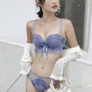 PEANOJEAN内衣女无钢圈小胸聚拢内衣性感蕾丝美背无钢圈上托透气文胸罩套装W8652蓝色套装75B 157元