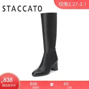 思加图2019冬季新款时尚高靴纯色马蹄跟高跟鞋简约粗高跟长靴女皮靴9T615DG9黑色36*2件 1606.2元(合803.1元/件)