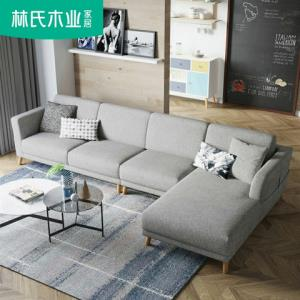 林氏木业木加布艺沙发组合客厅北欧风格实木脚灰色沙发储物RAK1K2680元