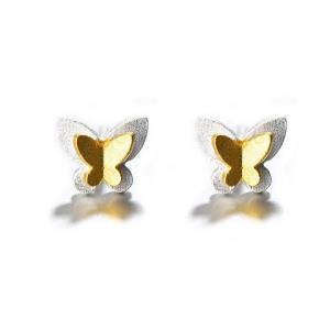 alivinee 阿莉维妮 s925银 金色小蝴蝶耳钉(配银耳塞)35元包邮(需用券)