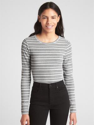 Gap盖璞女装罗纹条纹长袖圆领T恤 89元
