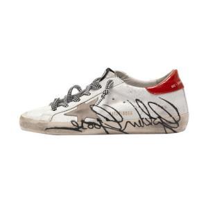 GOLDENGOOSEDELUXEBRAND女士Superstar裂纹效果签名板鞋