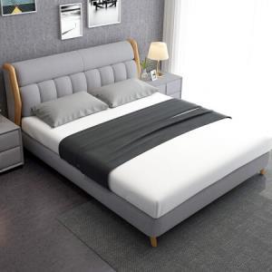 中派床北欧床实木布艺卧室双人床*1.8*2.0标准床+床垫+床头柜1个