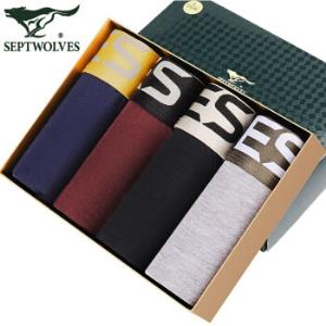 SEPTWOLVES七匹狼D7002-4男士平角裤*3件123.9元(合41.3元/件)