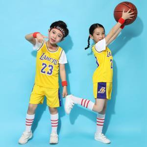 儿童篮球服套装男童假两件幼儿园表演服小学生班服女孩詹姆斯球衣5.1元