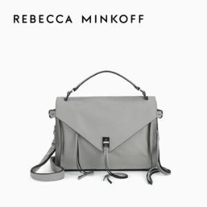 RebeccaMinkoff牛皮女士包DARREN流苏时尚单肩斜跨邮差包大号Grey    2850元