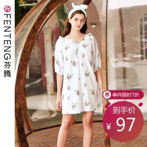 芬腾夏季新款短袖睡裙女梭织可爱清新短裙连衣裙可外 97.3元