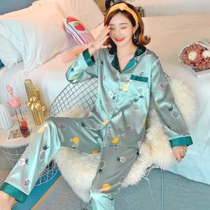 冰丝睡衣女春秋薄款仿真丝绸两件套装长袖大码可爱网红家居服夏季 39元包邮