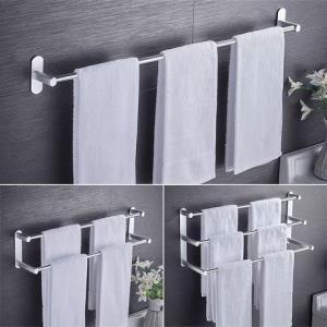 毛巾杆免打孔卫生间加长浴室凉双杆壁挂毛巾架厕所单杆厨房太空铝11.9元(需用券)