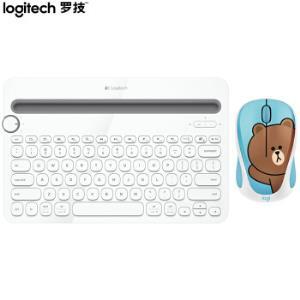罗技(Logitech)LINEFRIENDS布朗熊无线鼠标K480多设备蓝牙键盘送女友礼物227元