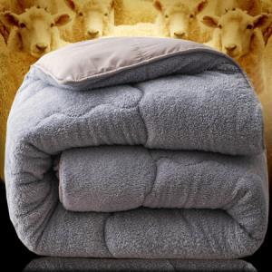 南极人NanJiren双人秋冬加厚被子灰色200*230cm6斤仿羊羔绒被芯家纺保暖被褥棉被学生被芯盖被春秋被*2件