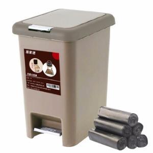 带盖垃圾桶手按脚踏式按压式厨房客厅卫生间垃圾筒纸篓大号办公室弹盖式垃圾桶咖啡色10L容量23.9元(需用券)