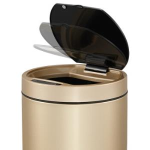 EKO充电感应垃圾桶家用不锈钢欧式垃圾筒9285香槟金12L*6件1348元(合224.67元/件)