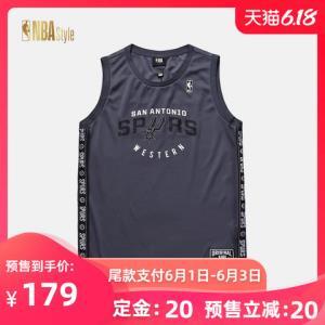 NBASTYLE潮流服饰马刺队夏季男款圆领休闲无袖背心T恤 179.00元