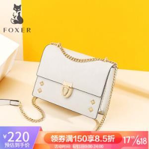 金狐狸(FOXER)包包女2020新款潮百搭时尚单肩女包铆钉斜挎链条小方包真皮女包白色JD9041160POP72F1D    219.00元