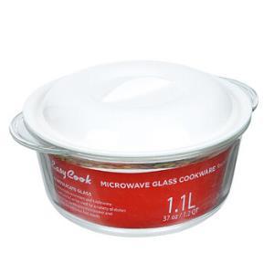 乐扣乐扣耐热玻璃保鲜盒大容量微波炉专用加热饭盒餐盒透明玻璃碗带盖泡方便面碗沙拉碗汤碗圆形1.1L