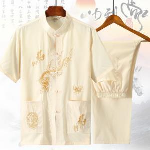 爸爸夏装套装中老年人唐装男亚麻中年男士40岁50岁中国风短袖 69元