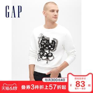 Gap男装舒适圆领长袖套头卫衣春509804创意印花男士潮流上衣 100.1元