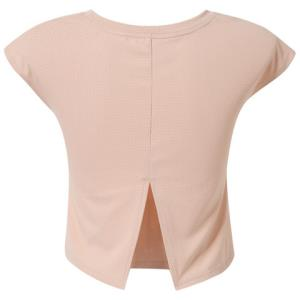 暴走的萝莉后背开叉弧形下摆插肩圆领宽松运动短袖透气休闲T恤 37.5元