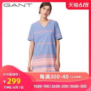 GANT/甘特女士春直筒V领条纹连衣裙气质中裙4311018 299元包邮