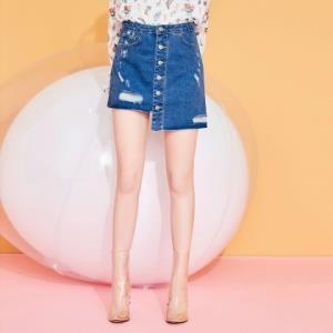 puella女新款韩版高腰不规则单排扣显瘦破洞牛仔半身裙 29元