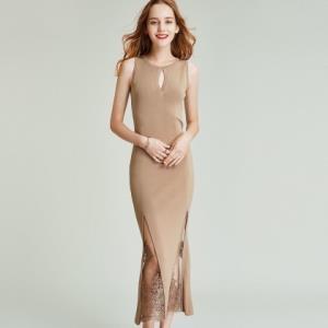 Knit凉爽曲珠针织刺绣蕾丝拼接连衣裙子2020夏季女装长裙 299元