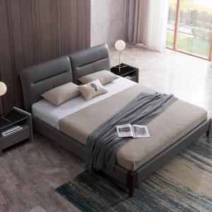 艾慕皮床慕思主卧现代简约1.5米真皮床时尚复古1.8米双人床婚床 5059元包邮