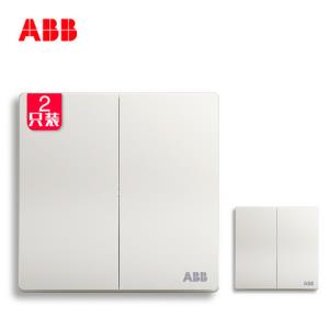 ABB开关插座无框轩致雅典白86型开关面板二开双控套装AF126*2只装