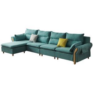 六水家具北欧风海绵款沙发湖蓝色三人位+贵妃(2.6米) 1499元