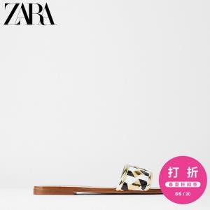 ZARATRF女鞋拼接方头编织平底凉鞋13862510202