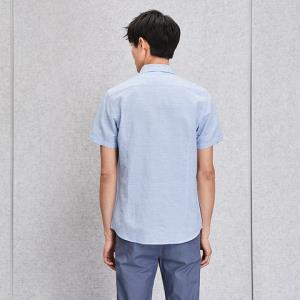 HLA/海澜之家条纹棉麻清新衬衫舒适柔软短袖衬衫男 78元(需用券)