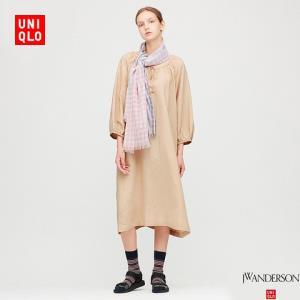 UNIQLO优衣库426841女士麻混纺打褶连衣裙 149元