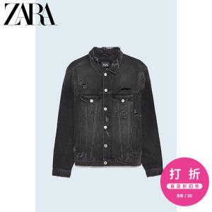 ZARA男装破洞装饰牛仔夹克外套 99元