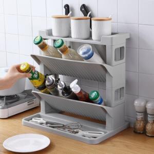 美之扣厨房置物架调料架调味架三层免打孔收纳架调料瓶架厨房用品双层(灰色)    39.9元