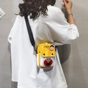 新款单肩包帆布斜挎卡通可爱迷你包黄色 19.9元