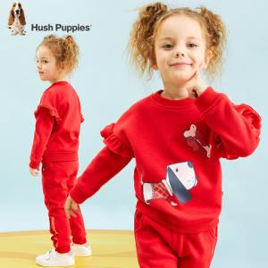 HushPuppies暇步士童装新款加绒套装儿童套装运动套装女童套装    152.64元